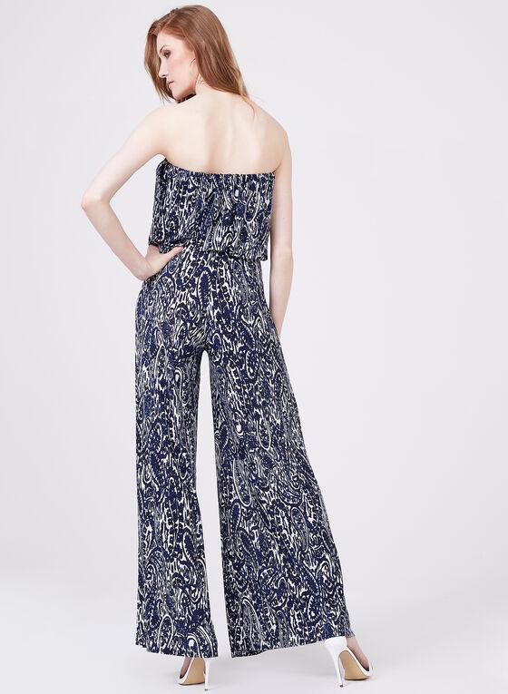 Ariella - Combinaison à motif cachemire et épaules dénudées, Bleu, hi-res