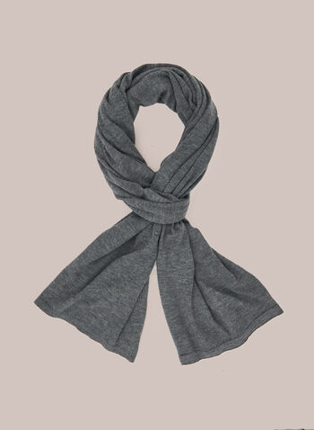 Wool Blend Lightweight Scarf, Grey,  scarf, lightweight, wool, fall winter 2020