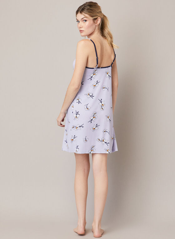 Floral Print Nightgown, Purple