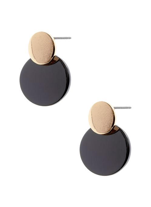 Boucles d'oreilles bi-ton à disques, Gris, hi-res