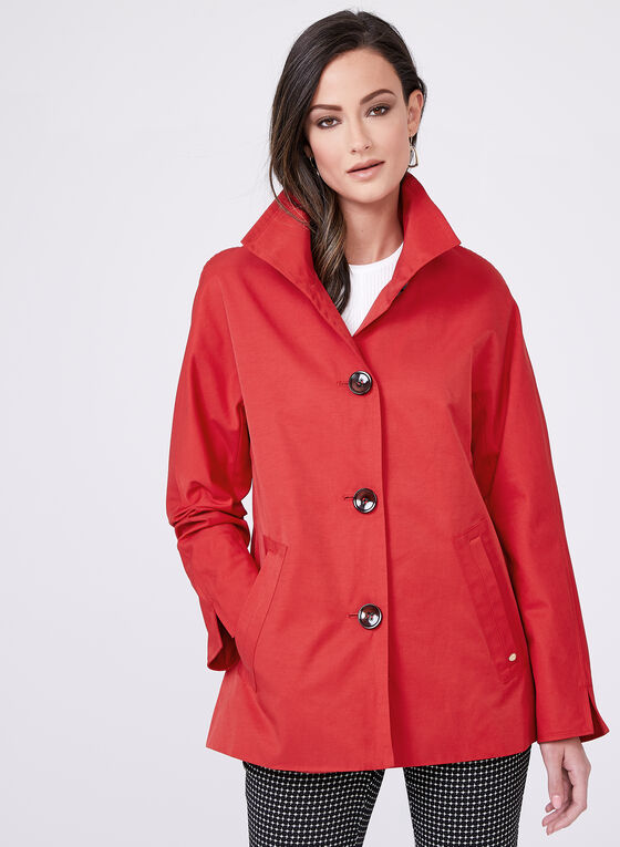 Ellen Tracy - A-Line Raincoat, Red, hi-res