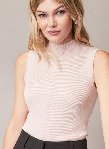 Sleeveless Mock Neck Sweater, Red,  sweater, sleeveless, rib knit, mock neck, spring summer 2020