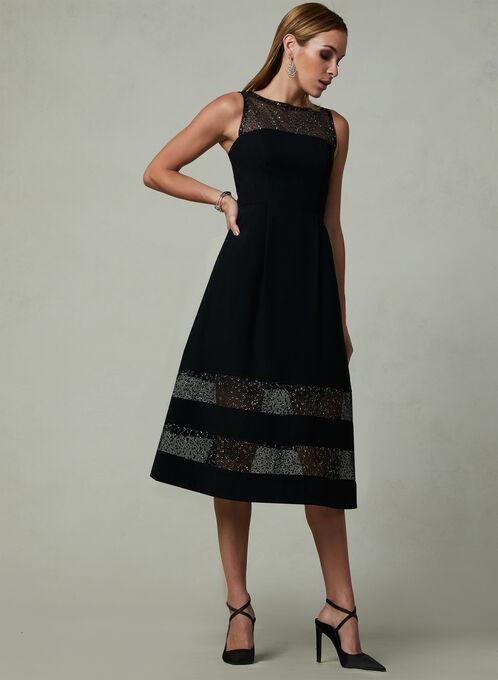 Aidan Mattox - Fix & Flare Dress, Black, hi-res