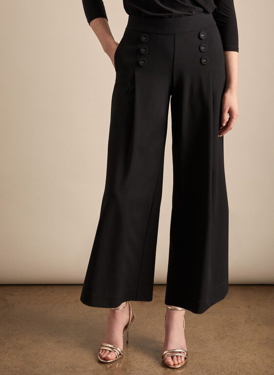 Button Detail Wide Leg Pants, Black