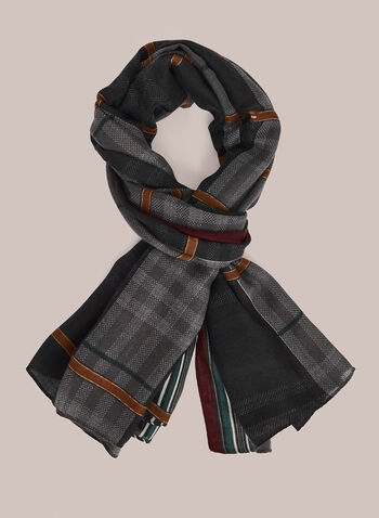 Plaid Print Scarf, Black,  scarf, print, plaid, fall winter 2020