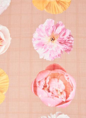 Floral Motif Lightweight Scarf, Brown,  scarf, lightweight, floral, tile, spring summer 2020