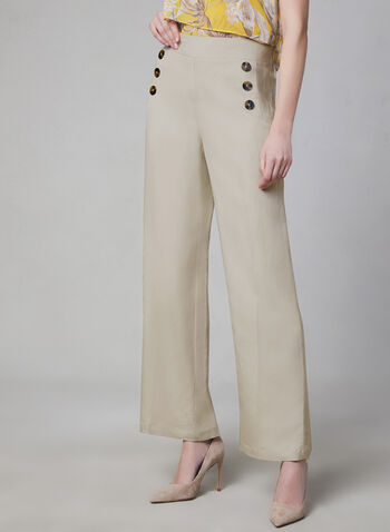 Wide Leg Linen Blend Pants, Off White, hi-res