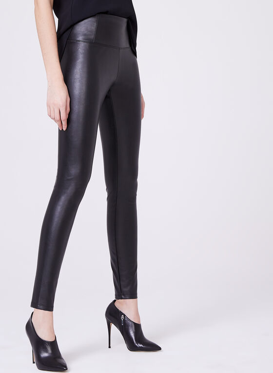 Legging en similicuir, Noir, hi-res