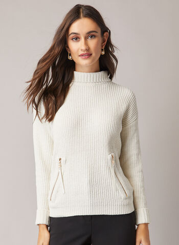 Zip Pocket Chenille Sweater, Off White,  sweater, long sleeve, chenille, knit, pockets, zipper, Fall 2020