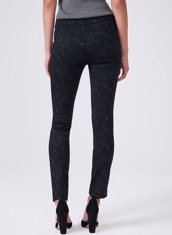 Pantalon pull-on Madison à motif tapisserie, Noir