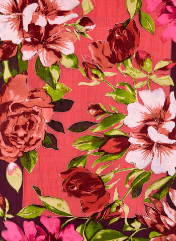 Floral Print Lightweight Scarf, Red, hi-res