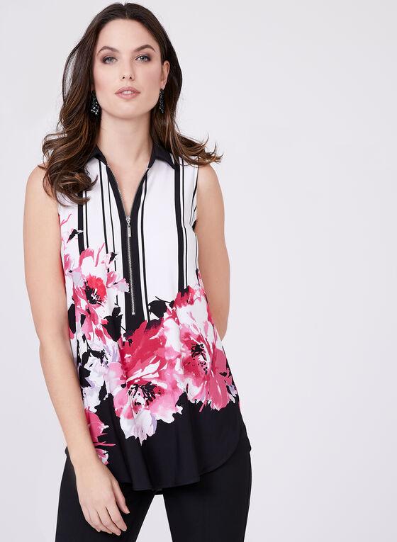 Sleeveless Stripe Floral Top, Multi, hi-res