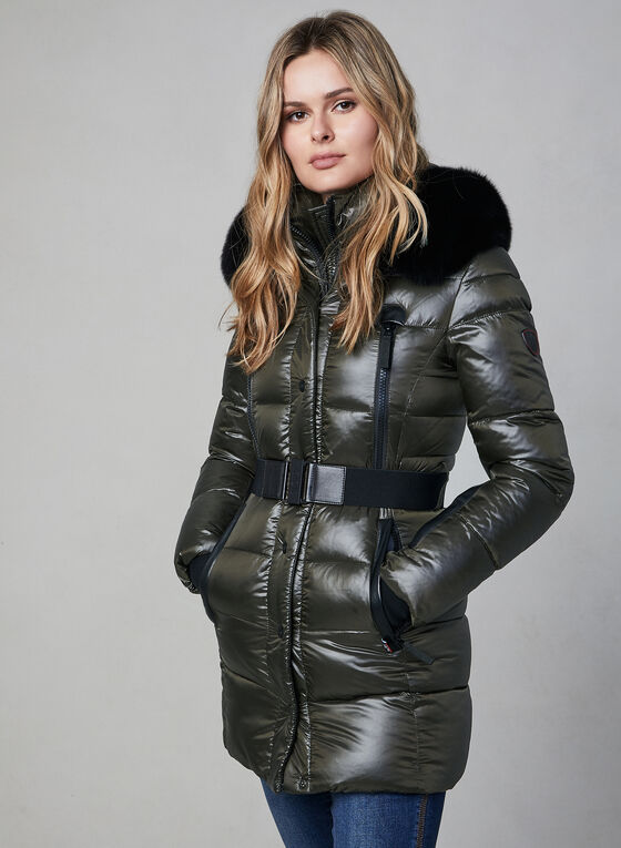 Sicily - Fur Trim Quilted Coat, Green, hi-res