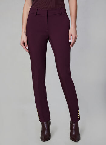 Giselle Fit Slim Leg Pants, Purple,  pants, slim leg, button cuffs, fall 2019, winter 2019