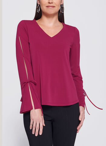 Bell Sleeve V-Neck Top, Pink, hi-res