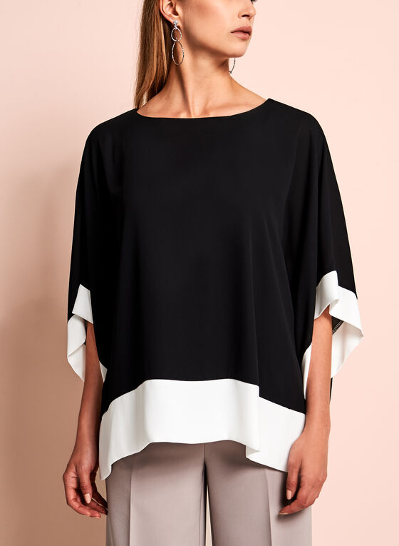 Contrast Jersey Poncho Blouse, Black, hi-res