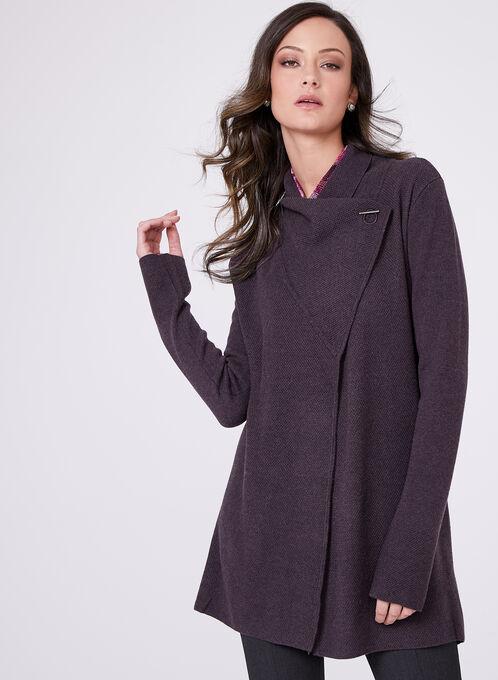 Cardigan ouvert en tricot piqué et fermoir métallique, Pourpre, hi-res