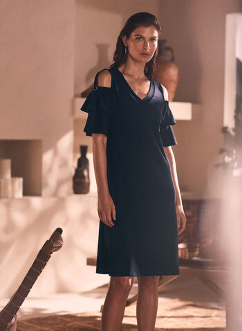 Tiered Sleeve V-Neck Dress, Blue,  dress, v-neck, tiered, short sleeves, cold shoulder, button tab,