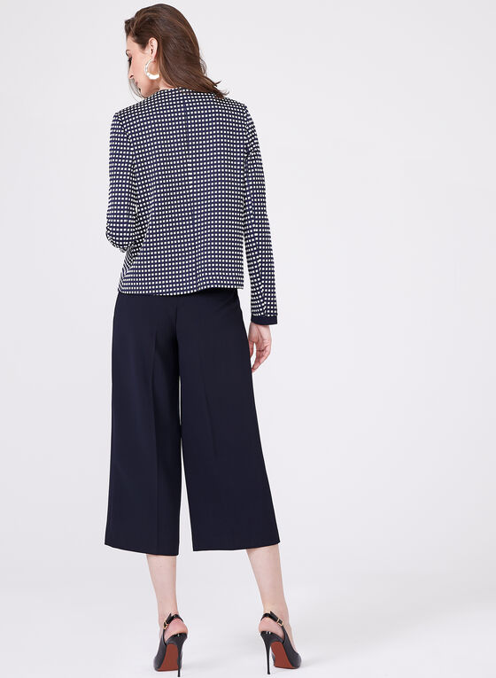 Boxy Jacquard Grid Print Cropped Jacket, Blue, hi-res
