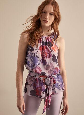 Sleeveless Floral Chiffon Blouse, Purple,  blouse, sleeveless, floral, chiffon, keyhole, cinched, elastic waist, tie, spring summer 2020