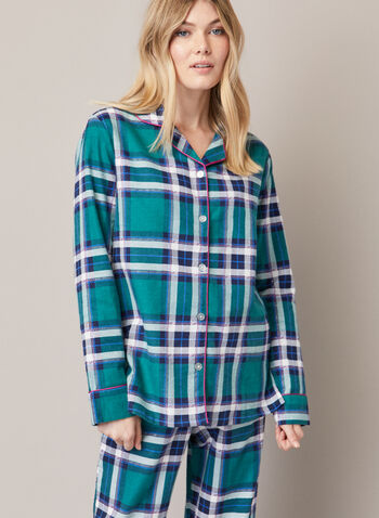 Tartan Print Pyjama Set, Green,  fall winter 2020, pyjama set, tartan