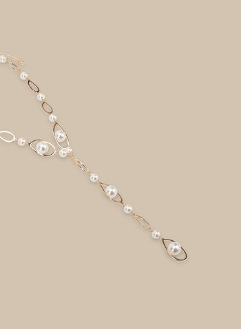 Chain & Pearl Y-Necklace, Off White,  spring summer 2020, pearl, metallic oval rings, chain links