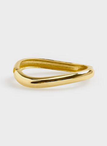 Smooth Metal Hinged Bangle, Gold, hi-res
