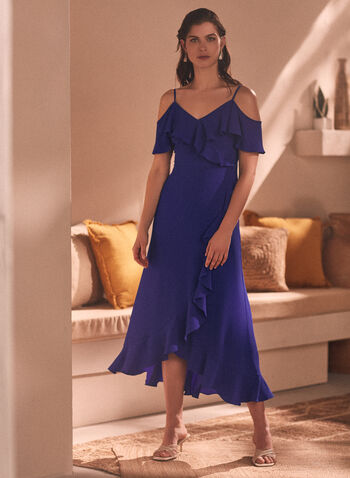 Maggy London - Short Sleeve Maxi Dress, Blue,  spring summer 2021, dress, wrap, v neck, ruffles, ruffled, cold shoulder, bare shoulder