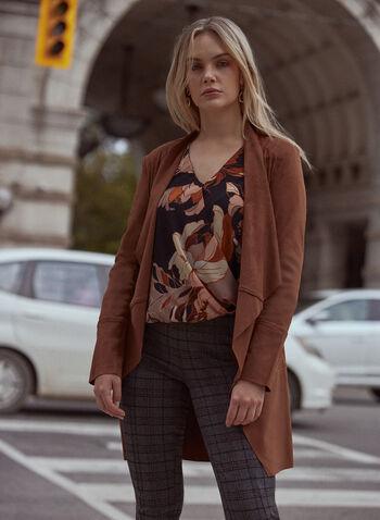 Faux Suede Jacket, Beige,  jacket, open front, long sleeves, zipper pockets, faux suede, fall winter 2021
