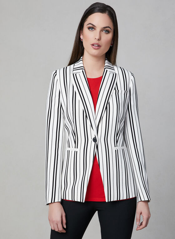 Stripe Print Blazer, Black, hi-res