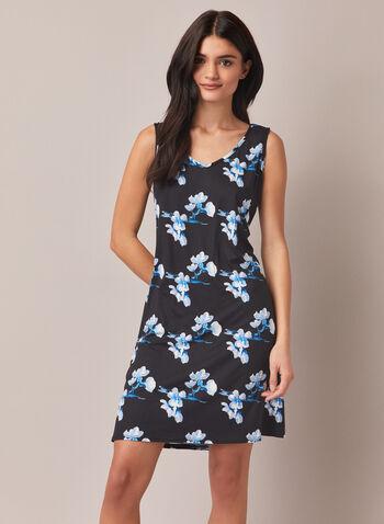 Robe de nuit et peignoir à motif floral , Bleu,  peignoir, robe de nuit, pyjama, vêtements de nuit, motif floral, automne hiver 2020