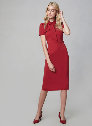 Maggy London - Tie Detail Sheath Dress, Red,  puffed sleeves, short sleeves, sheath, fall 2019, winter 2019