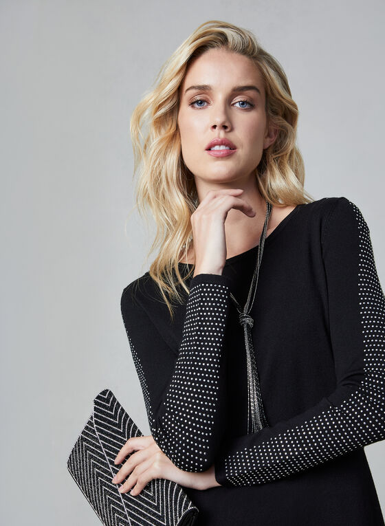 Tunique en tricot à bandes cloutées, Noir, hi-res