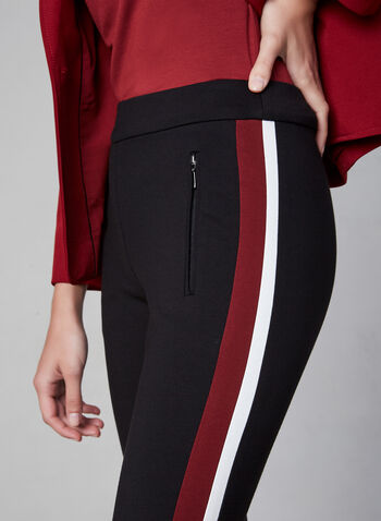 Striped Pull-On Pants, Black, hi-res,  fall winter 2019, stretchy, straight leg, pull-on waist, stripe at side