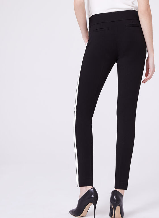 Contrasting Stripe Straight Leg Pants, Black, hi-res