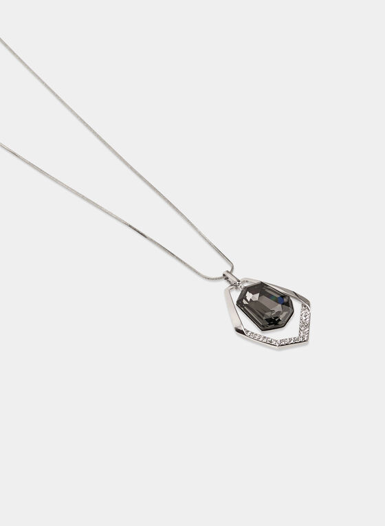 Crystal Pendant Necklace, Grey, hi-res