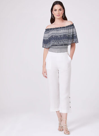 Wide Leg Linen Capri Pants, Off White, hi-res