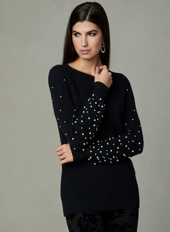 Pearl Embellished Knit Pull, Black, hi-res