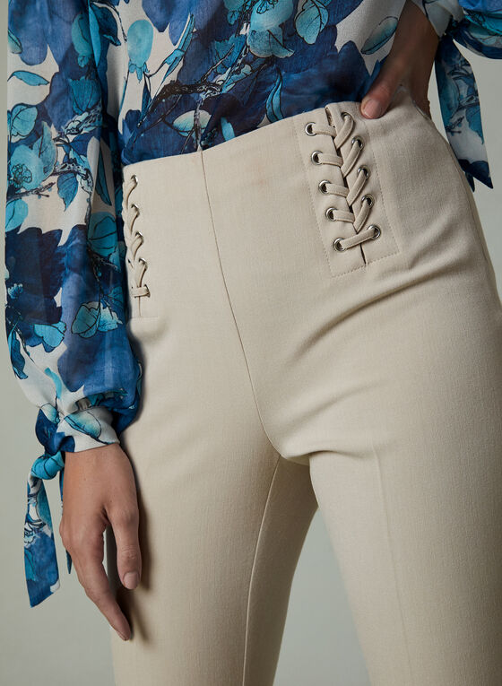 Lace Up Detail Slim Leg Pants, Off White, hi-res