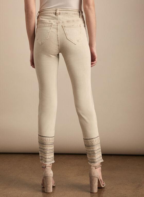 Sequin Detail Slim Leg Jeans , Off White