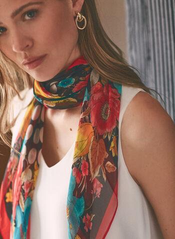 Dot & Floral Print Scarf, Black,  scarf, floral, dot, polka dot, lightweight, square, spring summer 2021