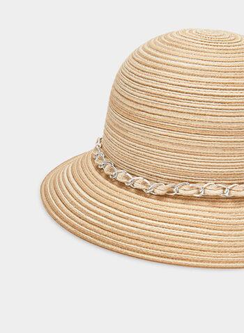 Braided Cloche Hat, Off White,  straw, spring 2019, chain