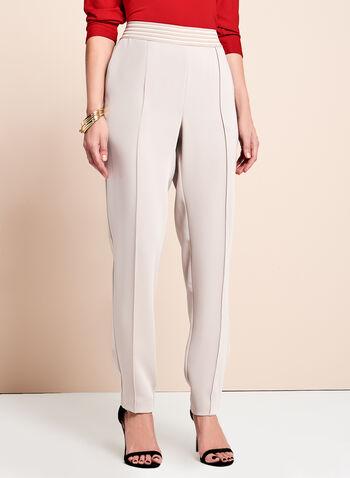 Pantalon jambe étroite à taille élastiquée, Blanc cassé, hi-res