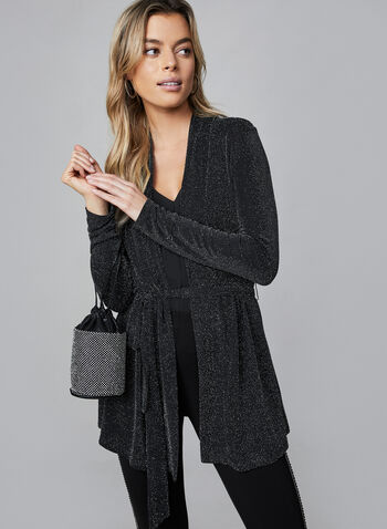 Metallic Open Front Top, Black,  canada, metallic top, glitter top, glitter, metallic, cardigan, open front, duster, holiday, fall 2019, winter 2019