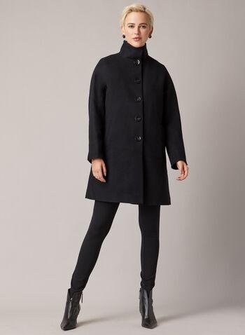 Manteau boutonné à col montant, Noir,  manteau, bouton, laine, poches, col montant, automne hiver 2020