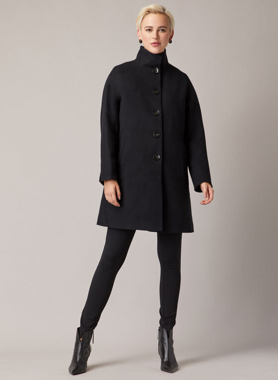 High Collar Wool Blend Coat, Black
