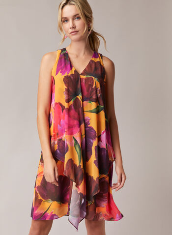 Floral Print Sleeveless Chiffon Dress, Black,  day dress, floral, sleeveless, chiffon, spring summer 2020