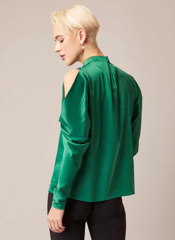 Satin Open Shoulder Blouse, Green