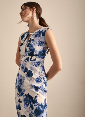 Floral Print Sheath Dress, Blue,  day dress, sheath, floral, cutout, cap sleeves, scoop neck, spring summer 2020