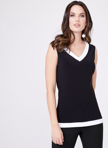 Frank Lyman - Sleeveless Jersey Top , Black, hi-res